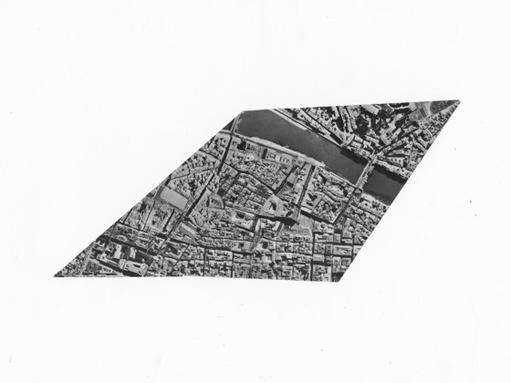 Photo of the Area of Florence Between the Piazza de Putti, Colonna dell 'Ablondanza Chiesa S. Ambrogio and Ponte alle Gracie, 1976, cut gelatin-silver print