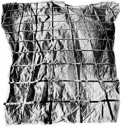 Black-and-white photograph of a textured surface with a grid pattern
