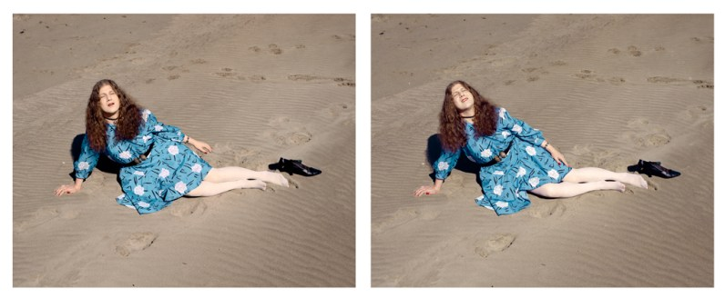Color photographic diptych of a woman in a blue flowered dress reclining on a sandy shore