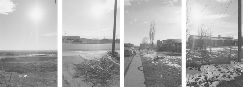 Four vertical black-and-white photographs showing an open field, a downed tree branch and telephone pole, a person standing in front of suburban home, and a structure with light snow and a brightly lit sky.