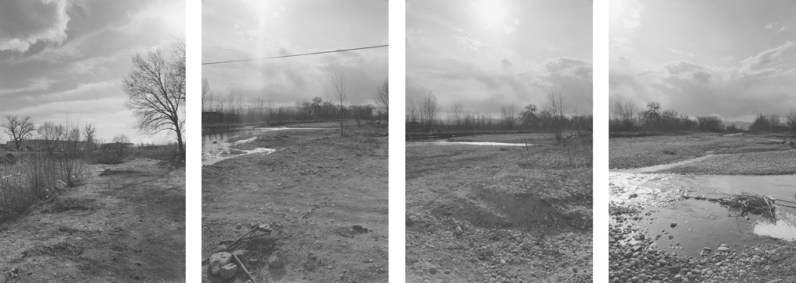 Four black-and-white photographs with a stream, trees, and a brightly lit sky with clouds.