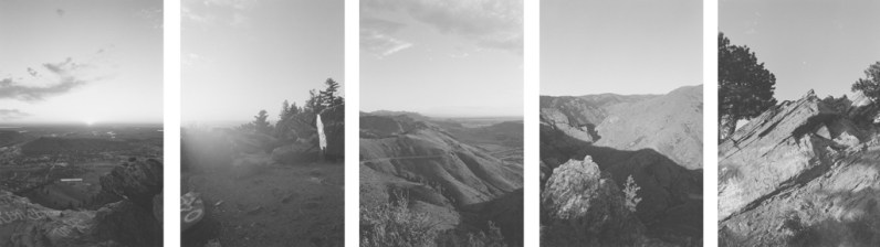 Five black-and-white photographs overlooking valleys and mountain-sides against a brightly lit sky.