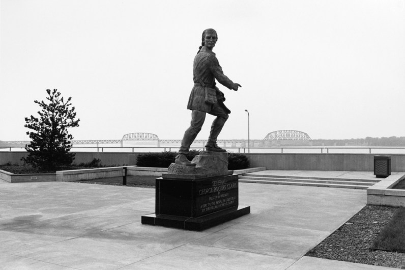Black and white photograph of the back of a monument