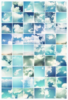 Clouds, 1978, fifty-four chromogenic prints mounted on board