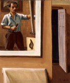 Painting of a man painting his own portrait in a mirror with an open door in the background