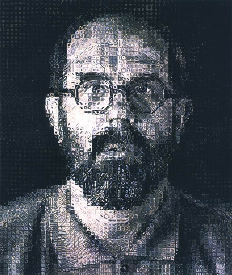 Painting of a bearded and spectacled man comprised of a grid of squares each filled with varying shades of gray blobs
