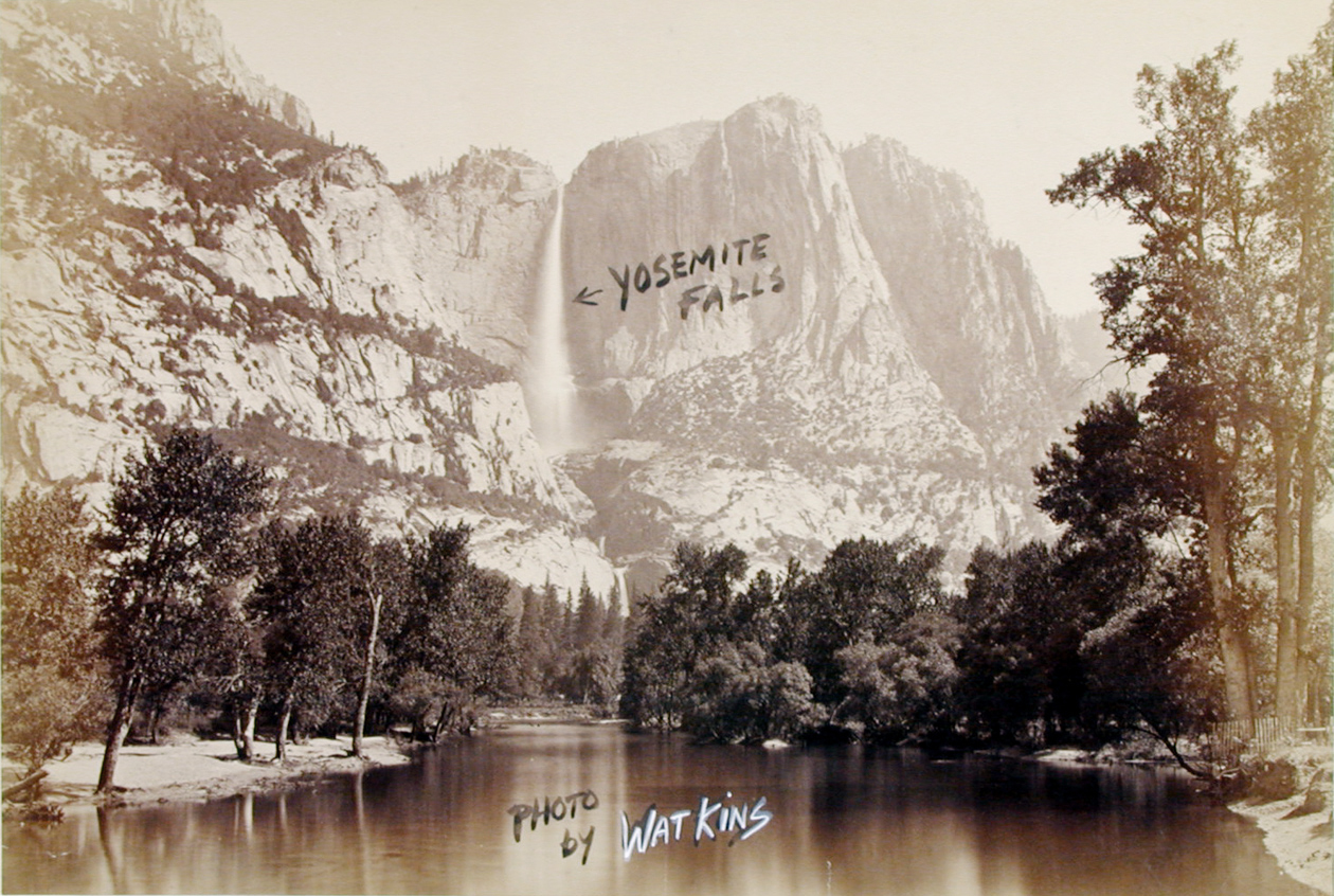 Black and white photograph of a waterfall over a rocky valley with handwritten annotation overlaid reading YOSEMITE FALLS and PHOTO BY WATKINS