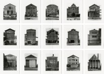 Grid of twelve black and white photographs of industrial buildings taken from straight on