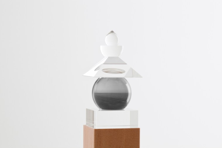 Five Elements, 2011,  Sea of Okhotsk, Hokkaido, 1992, optically clear glass, black and white film, housed in a wooden box