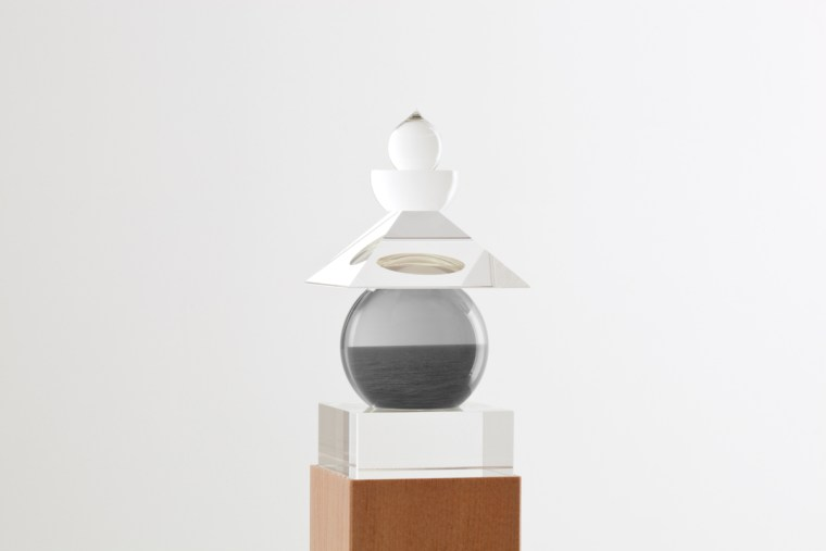 Five Elements, 2011,  Indian Ocean, Bali, 1991, optically clear glass, black and white film, housed in a wooden box