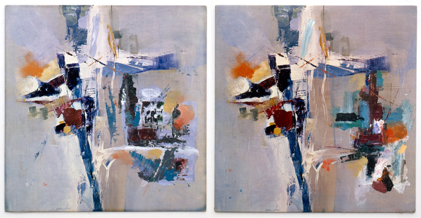 Two nearly identical square paintings of abstract strokes of color on a blue-gray background