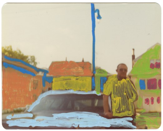 Untitled (Man with car), 2014, acrylic on found photograph