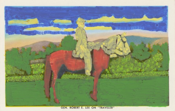 Untitled (Man on horse), 2014, acrylic on found photograph