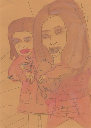 Untitled (Two girls on salmon paper), 2015, ink and watercolor on paper