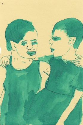 Untitled (Two green girls), 2012, ink and watercolor on paper