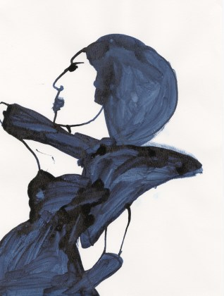 Untitled (Blue dress with wide shoulder)