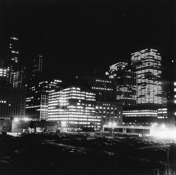 Night Skyline and Parking Lots, 1976, gelatin-silver print