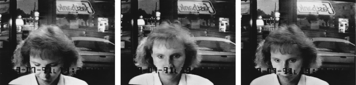 A grid of three black-and-white surveillance photographs showing a woman at an ATM