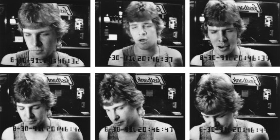 A grid of six black-and-white surveillance photographs showing a man at an ATM