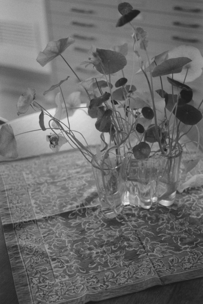 Black-and-white photograph of a tabletop with a flower vase.
