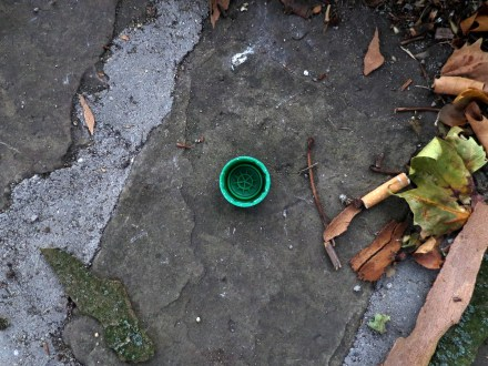 A photograph of a green plastic bottle cap on the street, next to a pile of leaves.