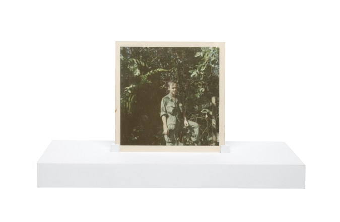 Painting of a person wearing fatigues standing in front of trees on a wooden stand