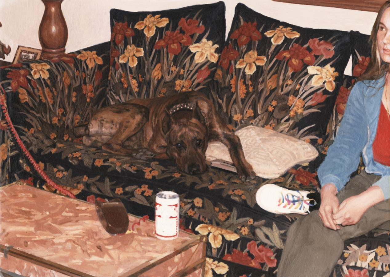 Painting of a dog and a person on a floral print couch