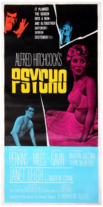 Psycho, Dir. Alfred Hitchcock. Perf. Anthony Perkins, Janet Leigh, Vera Miles,  John Gavin, and Marin Balsam.  Paramount, 1960. Film poster.