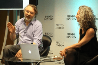 Video still of Richard Learoyd talking to Frish Brandt on stage