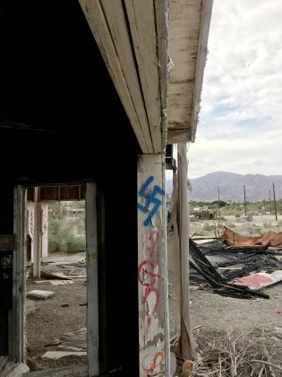 Blue swastika, Salton Sea, California, 2017