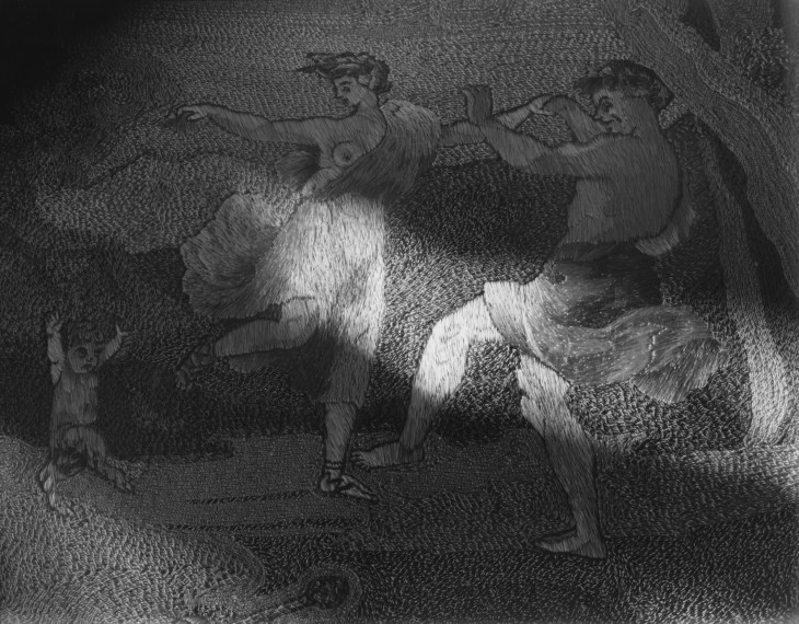 NICHOLAS NIXON, Brookline (Unknown Tapestry) , 2016, gelatin-silver contact print
