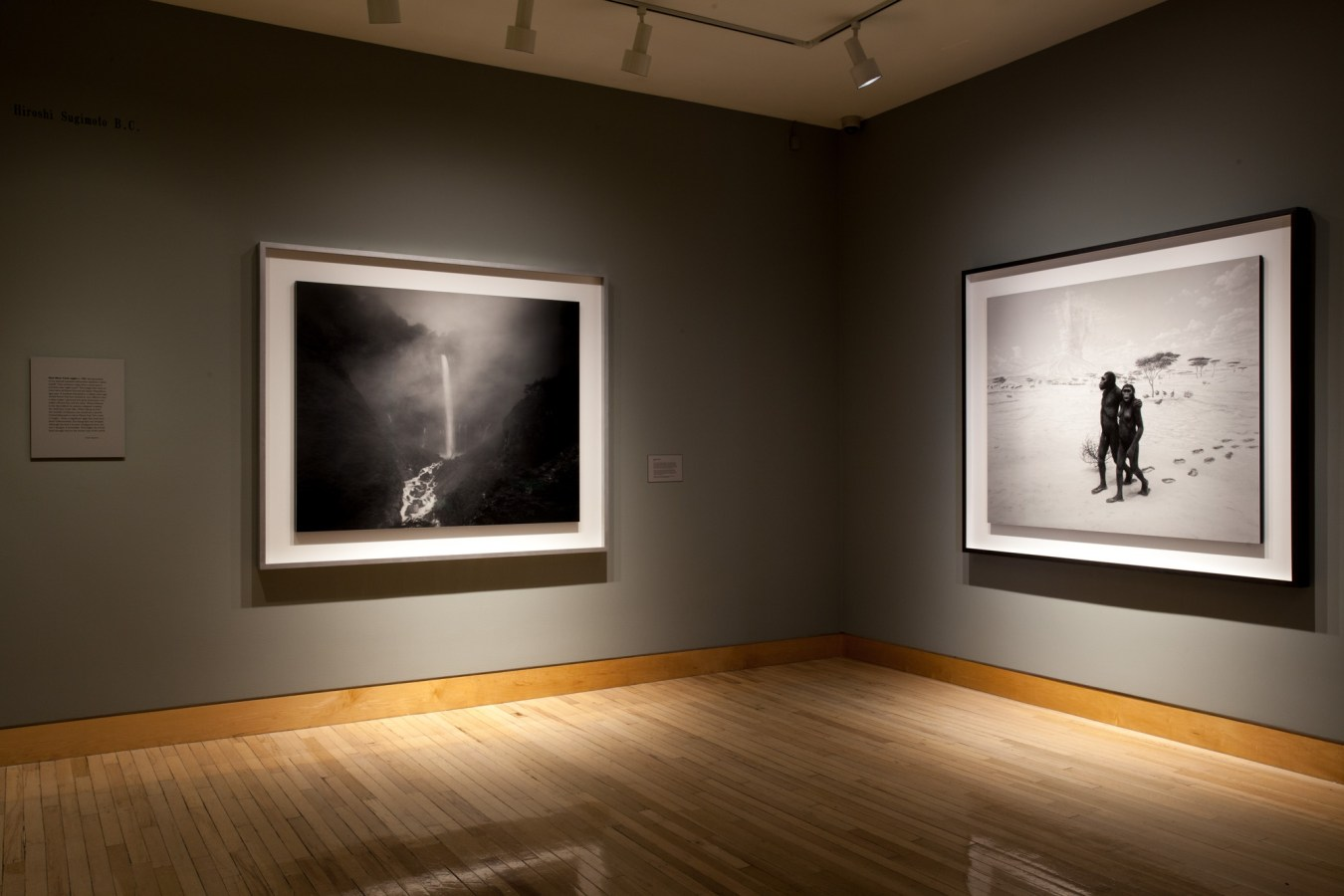 Installation photograph of framed prints on gallery walls