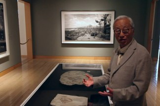 Video still of a man standing at a display case of fossils in a gallery