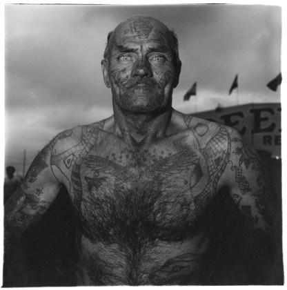 Tattooed man at a carnival, Md. 1970, gelatin-silver print