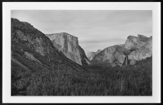 Black-and-white photograph of a forested valley with bare granite slopes