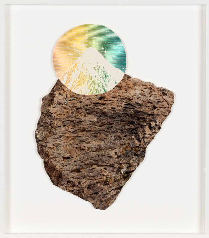 A color photograph of a rock with a multi-colored round print of a mountain peak collaged on top, so the lines of the rock and mountain align.