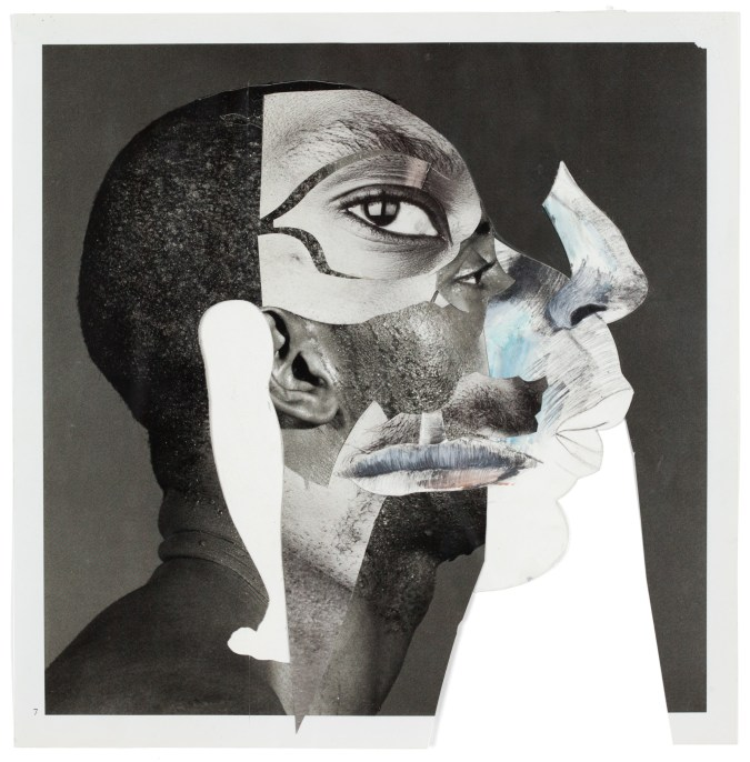 Black and white collage comprised of photographs and drawings of parts of African American men's faces