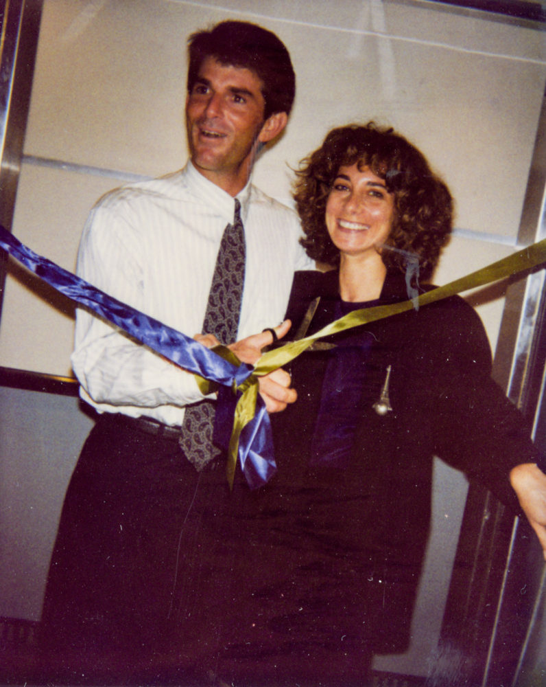 Jeffrey Fraenkel and Frish Brandt opening the new floor of the 55 Grant Street space, 1989