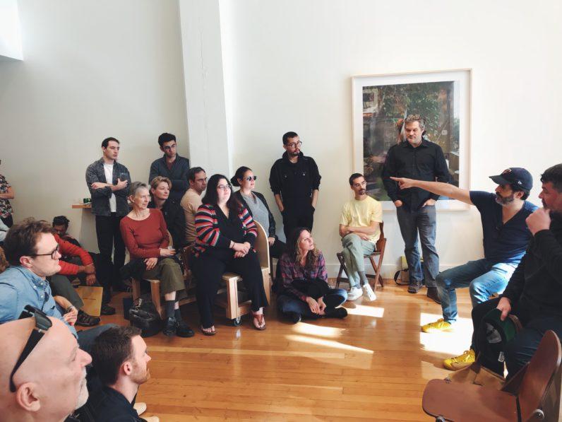 Alec Soth speaking at FraenkeLAB during his Seesaw exhibition, 2017