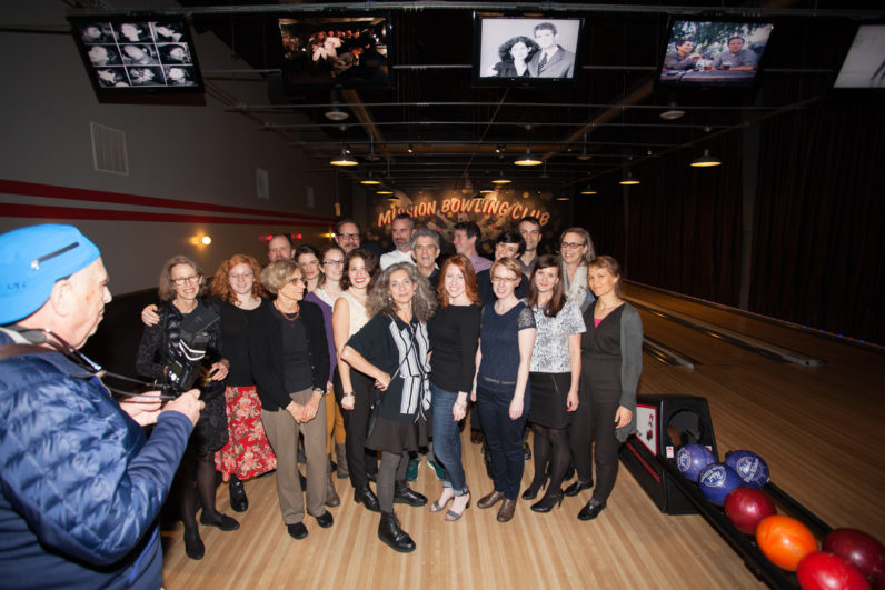 Staff Bowling Party with guests Lee and Maria Friedlander and Katy Homans, 2015