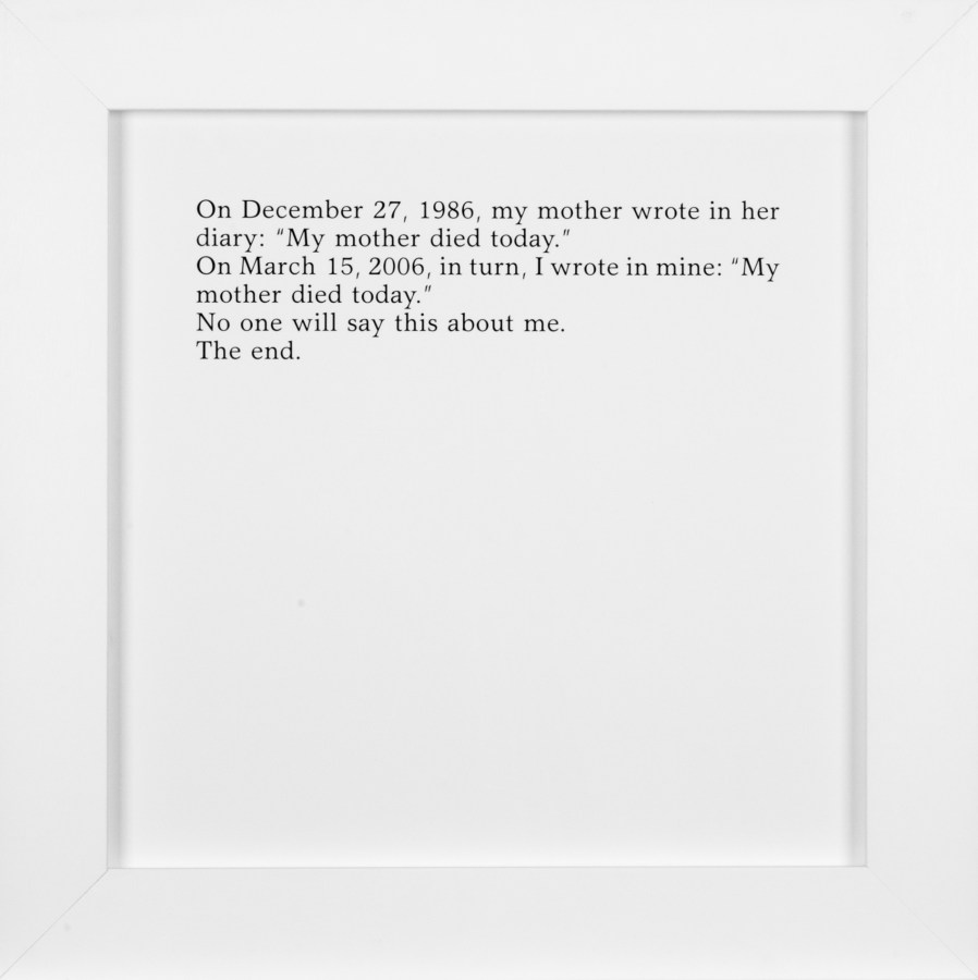 A square framed text panel describing a diary entry by the artist