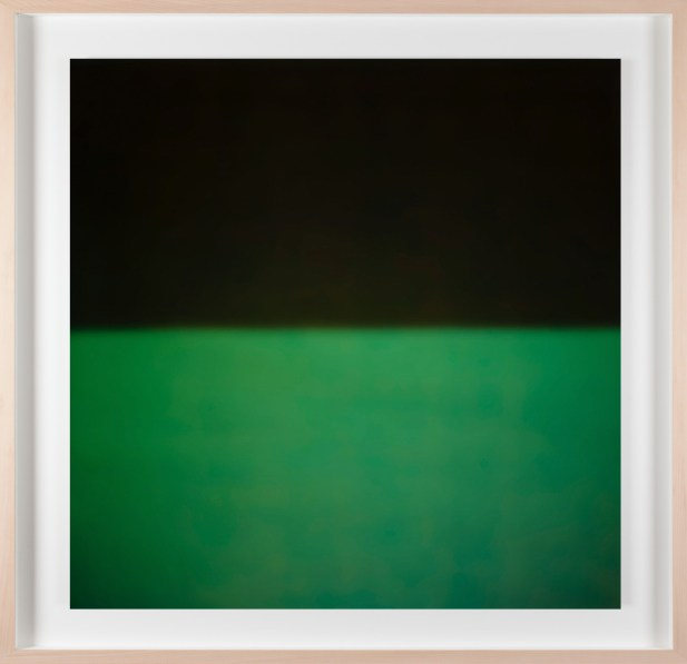 A framed photograph of a black and green color field