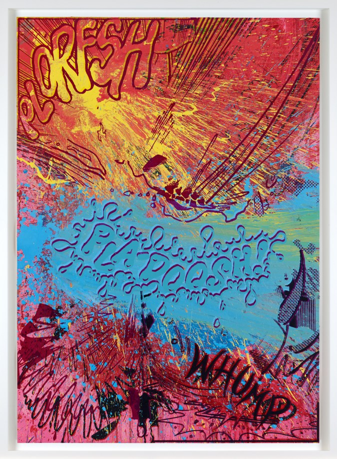 """A framed many-color abstract painting that includes the words """"plorfsh,"""" """"pla-doosh,"""" and """"whump."""""""