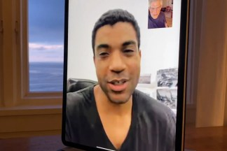Two people on a video chat on an iPad