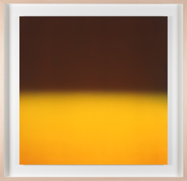 A framed photograph of a black and yellow color field