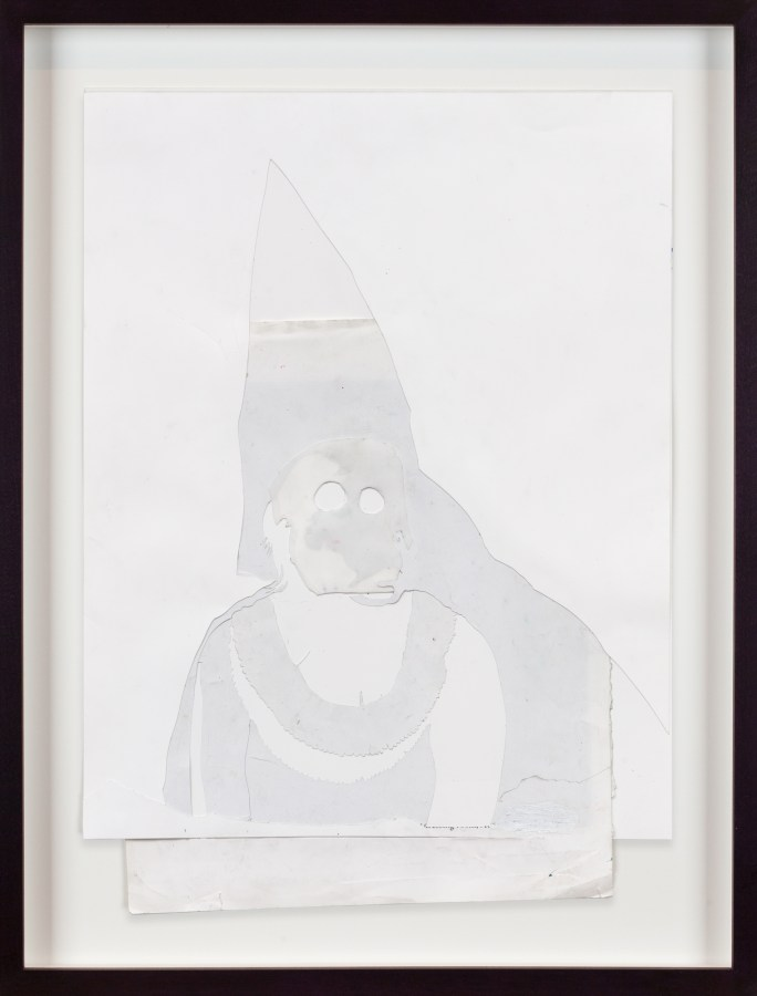 A white collage of a Klansman.