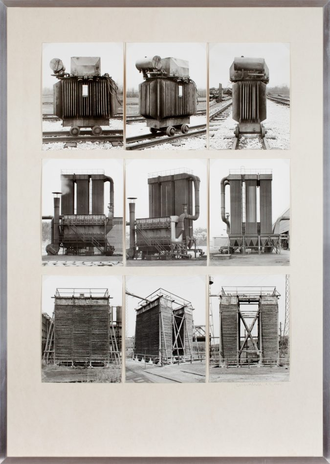 Nine black and white photographs of industrial structures in a single frame