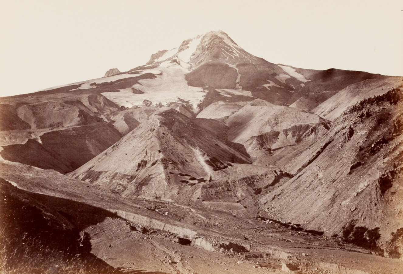 Ninteteenth century photograph of a snow-covered mountain top