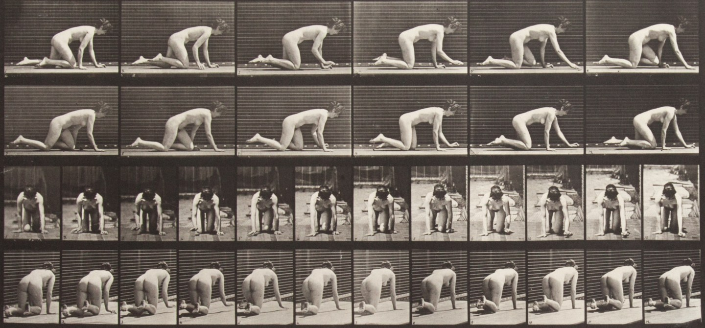 Sepia toned photograph with a grid of 36 panels showing a nude woman crawling; 12 panels are in profile, 12 panels are head on, and 12 panels are from behind.