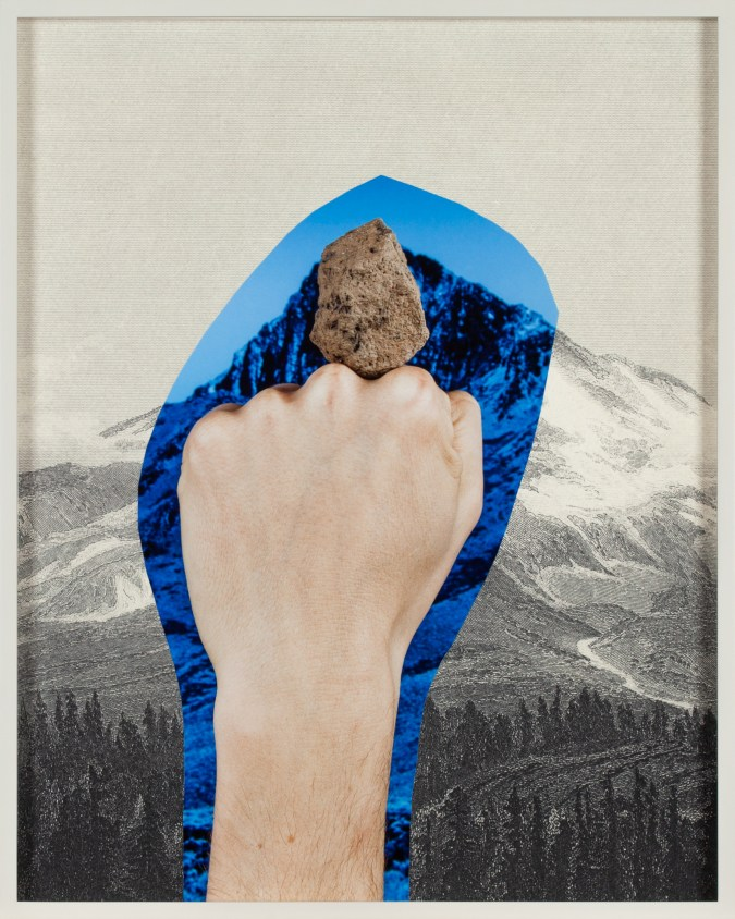 Collage of a fist supporting a stone surrounded by a blue aura over an engraving of a mountain